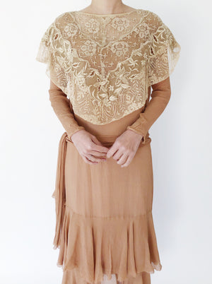 1920s Mocha Silk Embroidered Collar Dress  - XS/S