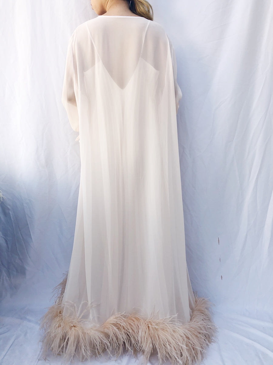 Vintage Light Pink Chiffon and Ostrich Feather Robe - One Size