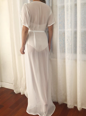 Vintage Chiffon Robe with Flutter Sleeves - OSFM