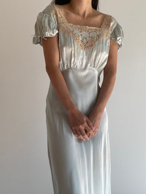 1930s Robins Egg Blue Silk Cap Sleeves Gown - S