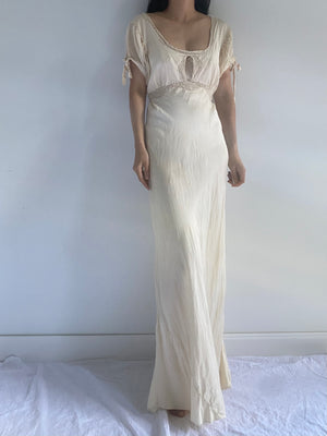 1930s Silk Ivory Bias Gown - S