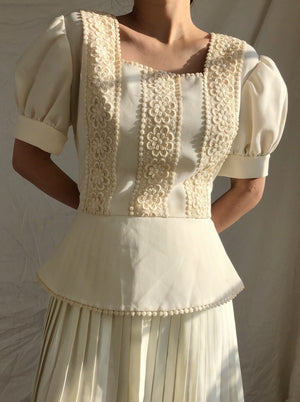1970s Crepe Short Puffed Sleeves Top - M