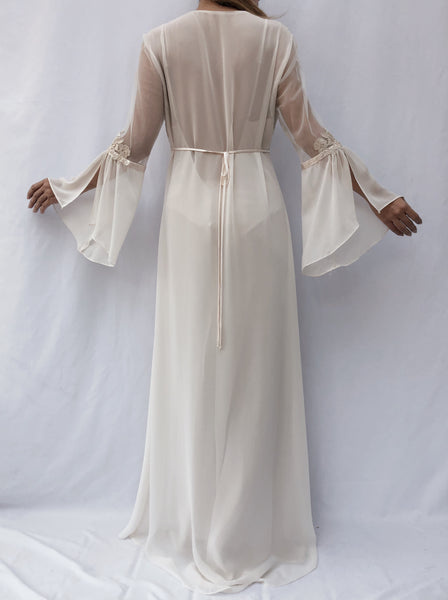 Vintage Ivory Chiffon Dressing Gown - S-L