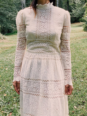 1970s High Neck Lace Crochet Dress- XS