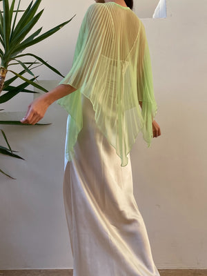1960s Celadon Pleated Capelet - One Size