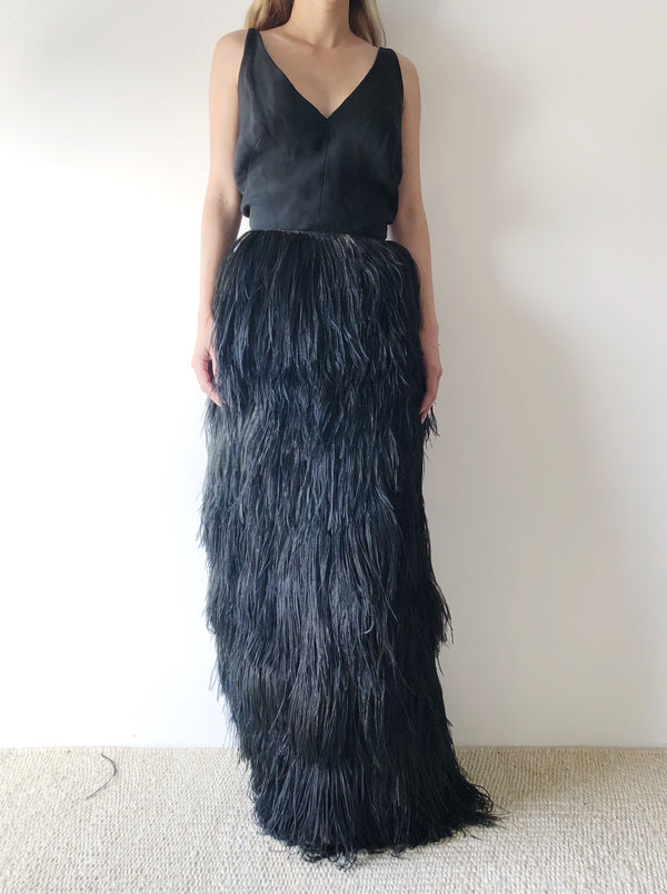 RESERVED 1960s Silk Crepe and Ostrich Feather Dress - S