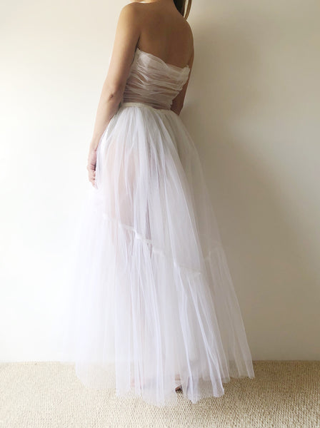 1950s White Sheer Tulle Dress - XS/S