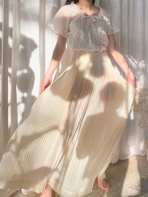 Antique Pleated Silk Skirt -  S
