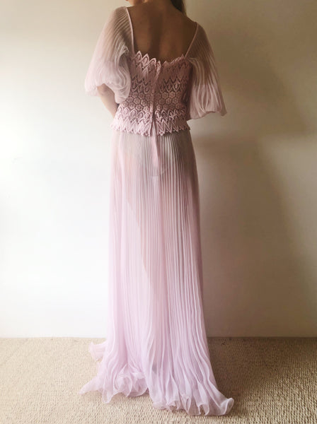Vintage Pink Sheer Chiffon Puff Sleeve Gown - S/M
