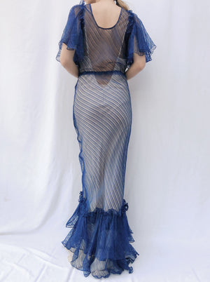 1930s Sapphire Blue Silk Striped Gown - XS/S
