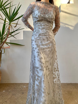 GOSSAMER 3/4 Sleeves Pewter Gray Beaded Net Gown - S/6