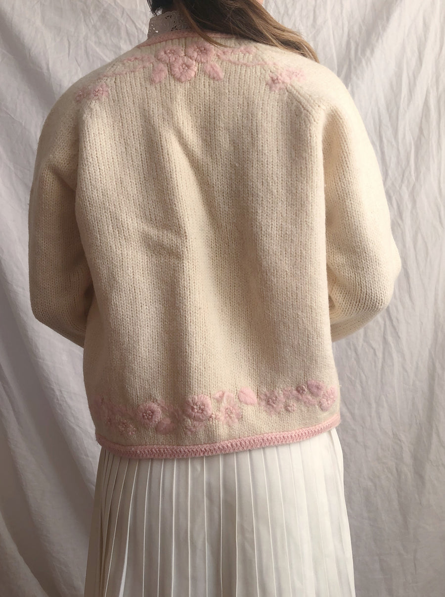 1950s Cream With Pink Flowers Embroidered Cardigan - S