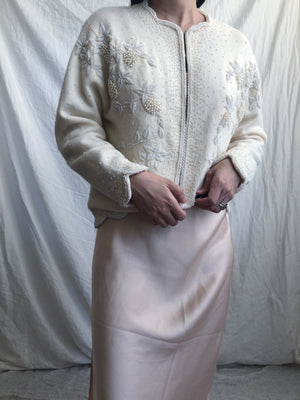 1950s Cream Beaded Cashmere Cardigan - S/M