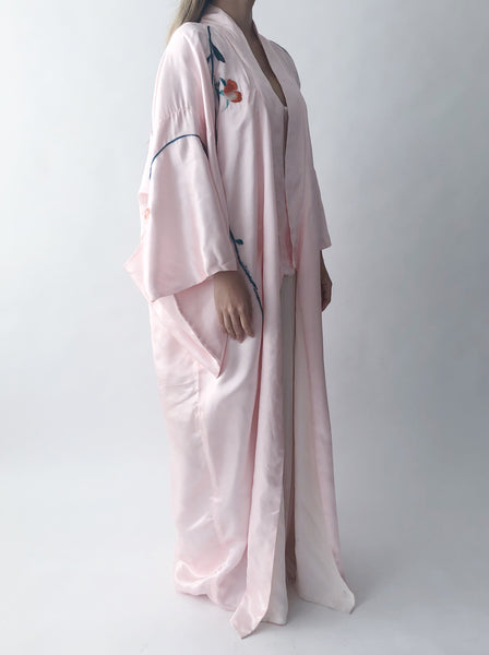 1950s Silk Pink Embroidered Kimono - One Size