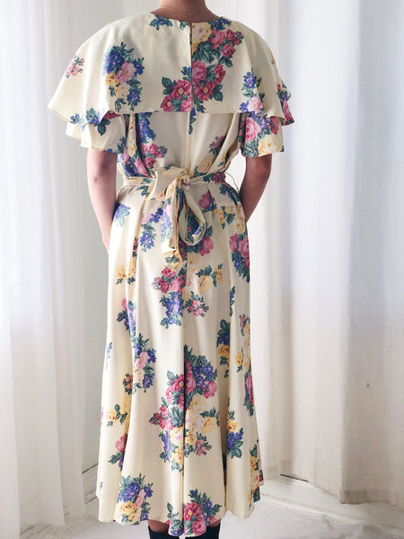 1980s Beige Floral Faux Wrap Dress - M