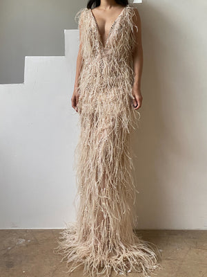 Oscar De La Renta Light Peach Feather Dress - XS/2