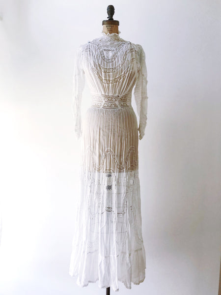 Antique Cotton Muslin Dress with Lace Insert - S