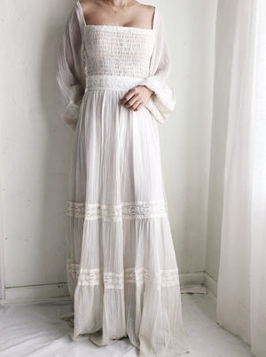 1970s Cotton Gauze Smocked Dress - S/M