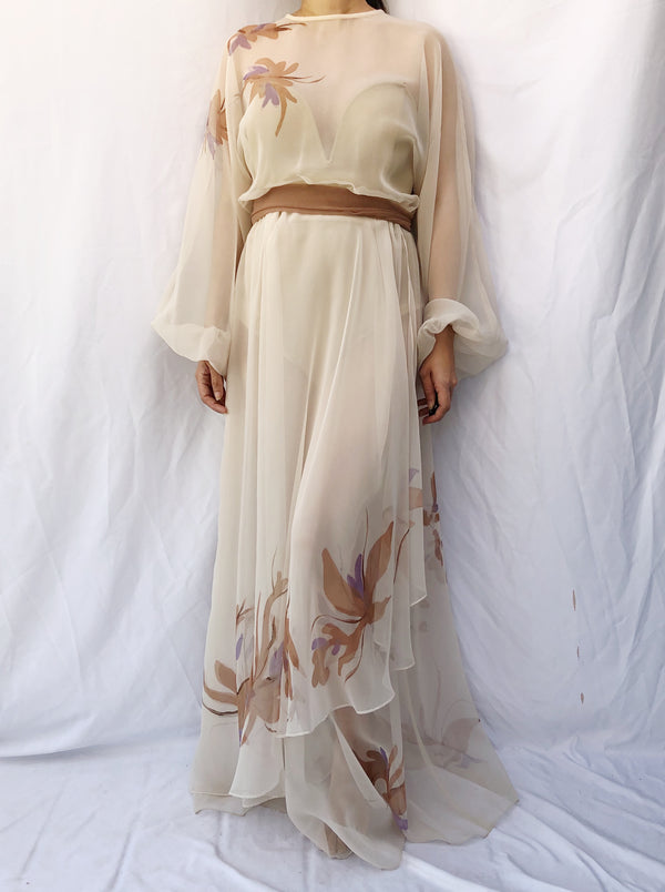 1970s Sheer Layered Watercolor Chiffon Dress - M