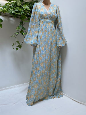 1970s Light Blue Calico Balloon Sleeves Cotton Dress - S/M