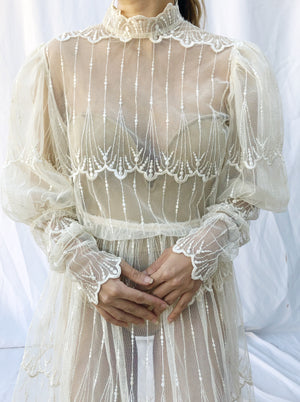 Vintage Lace Mutton Sleeves Dress -S/M