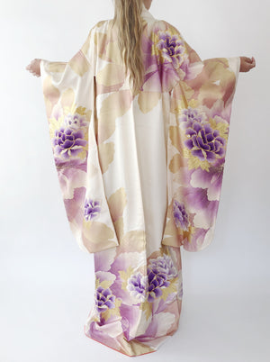 Vintage Purple Florals Embroidered Kimono - One size