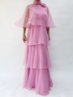 1960s Lilac Layered Chiffon Gown - S