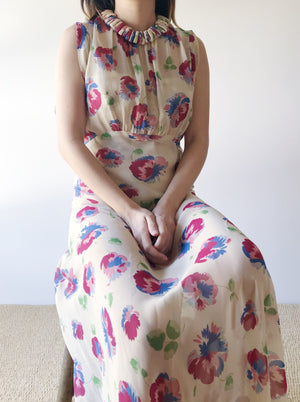 RARE 1930s Silk Chiffon Floral Dress - S/M