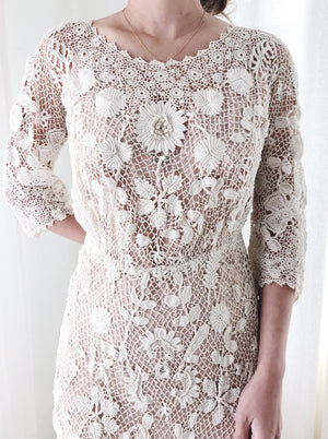 RARE Antique Irish Lace Dress - M