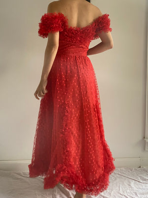 1950s Red Swiss Dotted Tulle Dress - S