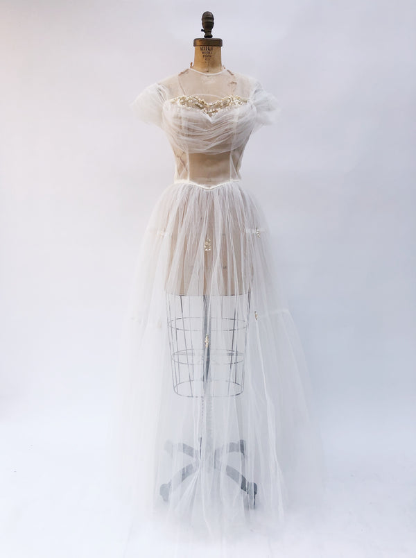 1950s Sheer Ivory Tulle Gown with Appliqué  - XS/S