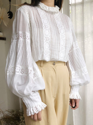 Vintage High Neck Puff Sleeves Top - M/L