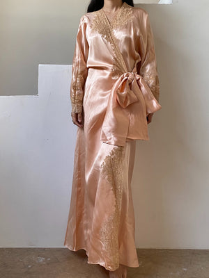 RARE 1920s French Silk Dressing Robe with Lace - One Size
