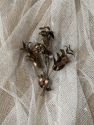 Antique Metal Myrtle Boutonniere/Pin