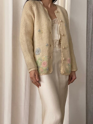 1950s Beaded Knit Cardigan - S