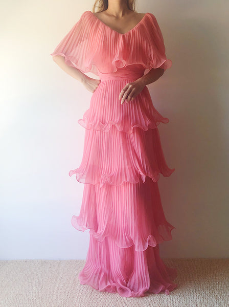 1970s Pink Pleated Chiffon Dress - S
