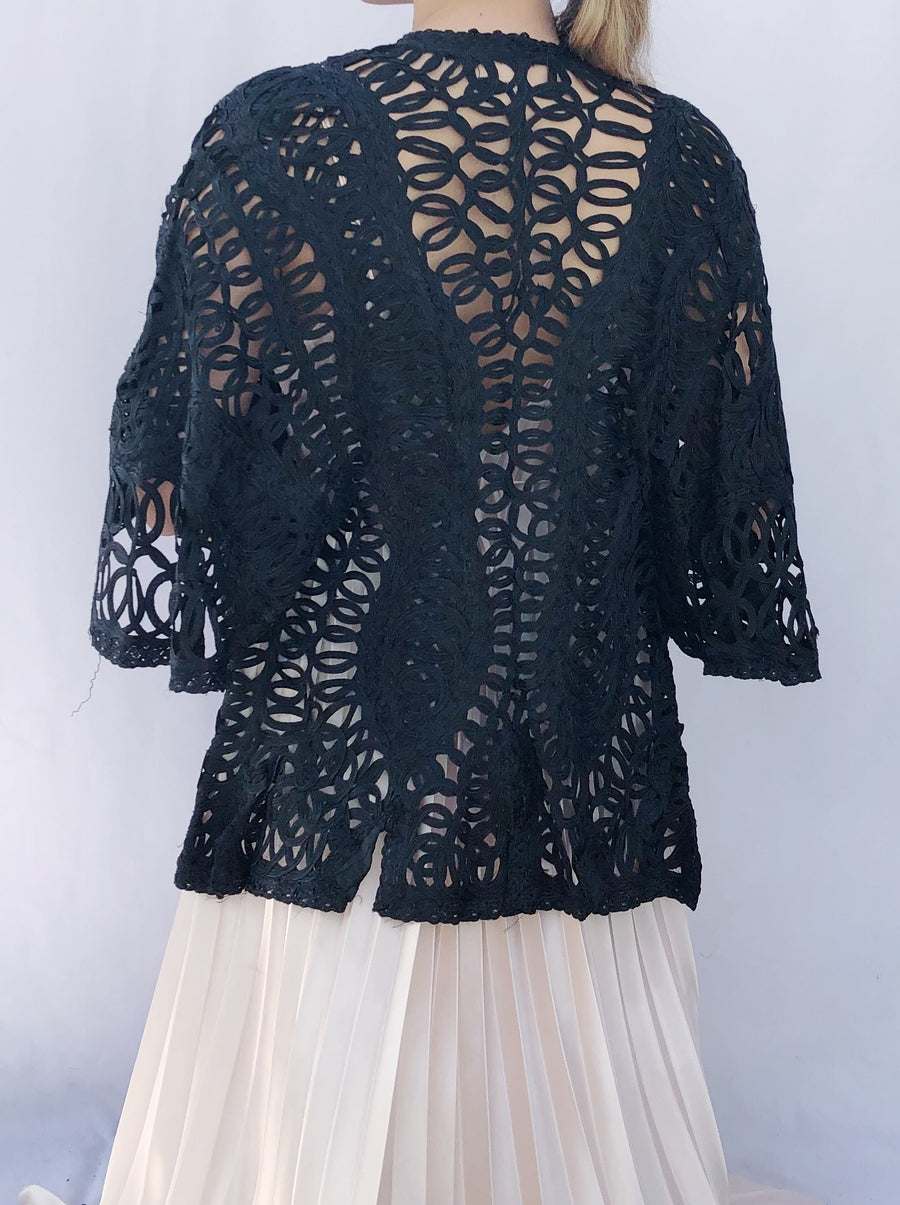 Antique Tatted Tape Lace Jacket - One Size