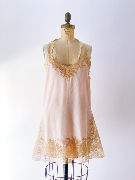 1920s Peach Silk Step-in - M