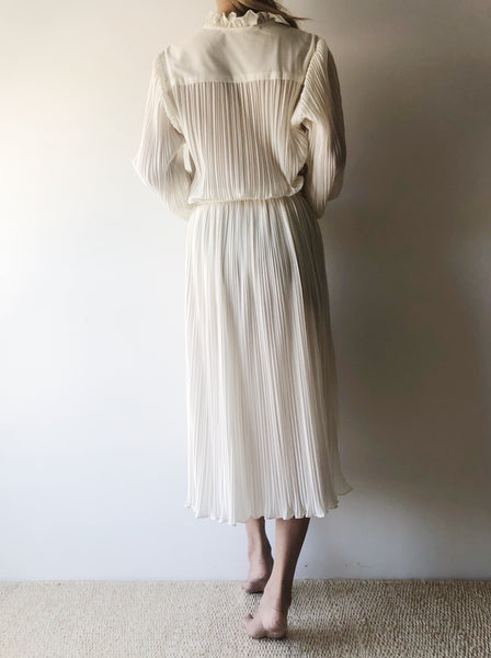 1970s Ivory Micropleated Dress - S/M