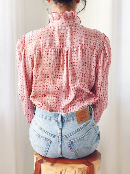 1980s Chiffon Poet Sleeve Floral Top - S