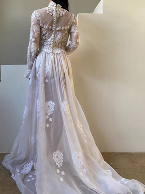 1960s Lace with Silk Organza Gown - S/M