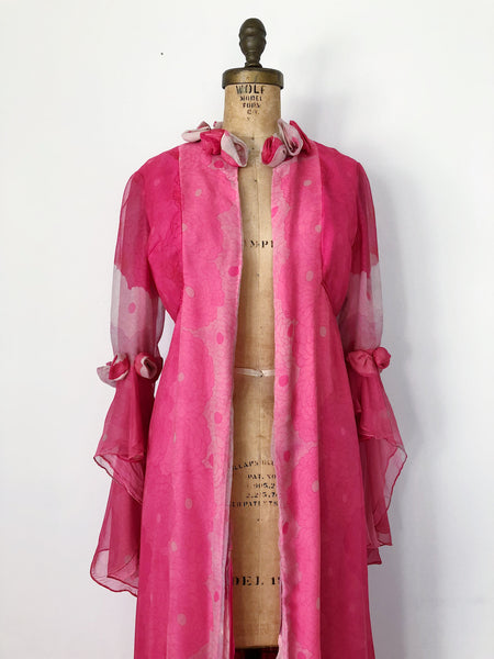 1960s Pink Chiffon and Silk Duster - S