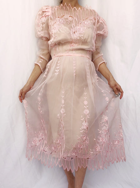 Vintage Pink Sheer Embroidered Dress - M