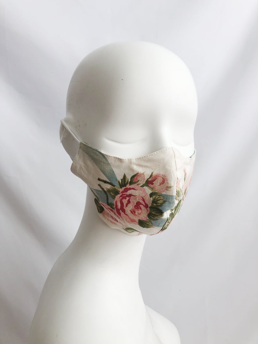 Adult Pink Flowers Cotton Mask