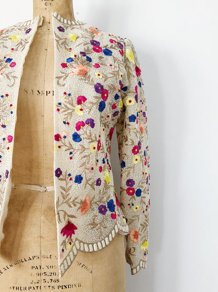 1980s Silk Embroidered Jacket - S