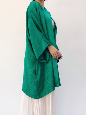 1980s Satin Emerald Robe - OSFM