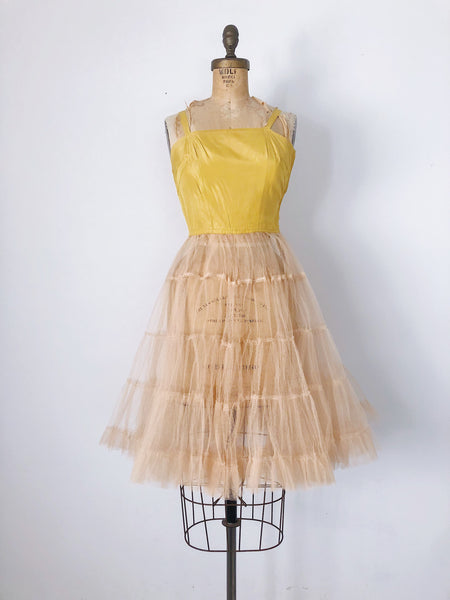 1950s Yellow and Peach Sheer Tulle Dress - XXS