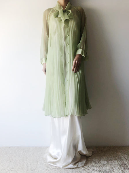 1960s Mint Green Chiffon Pleated Duster/Dress- One Size
