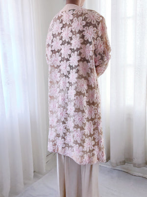 1960s Pink Ribbon Lace Duster/Overcoat - S/M