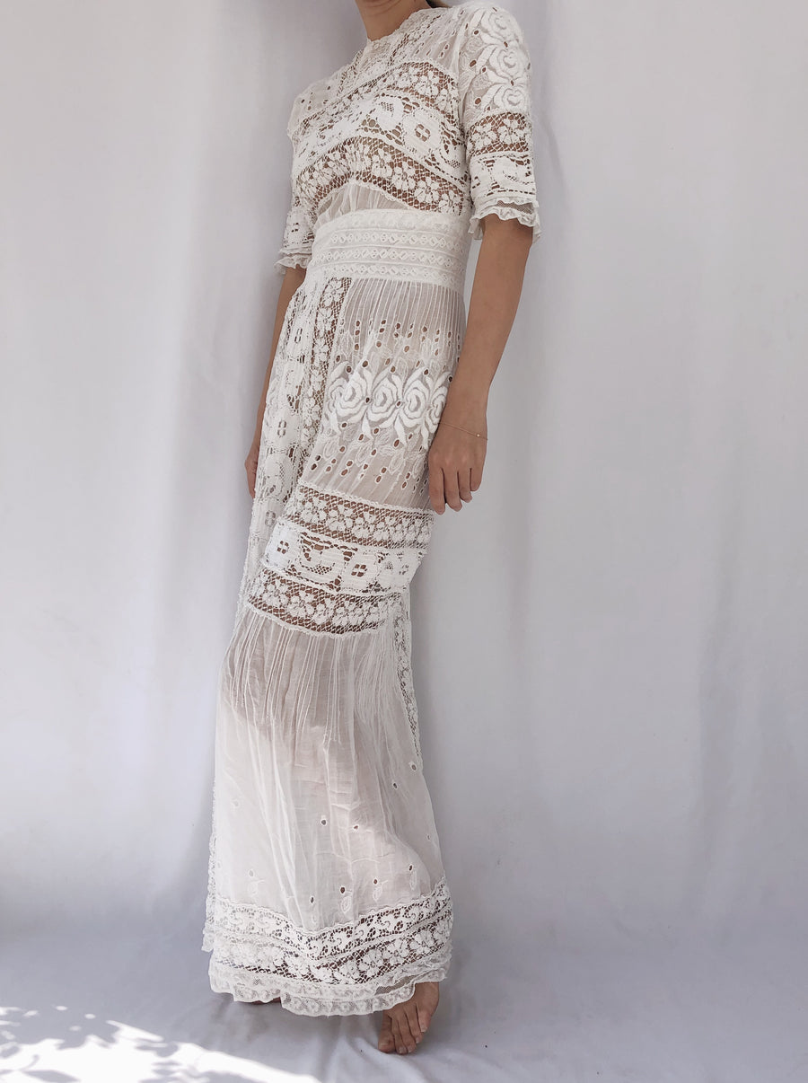 Edwardian Crochet and Embroidered Dress - XS/S